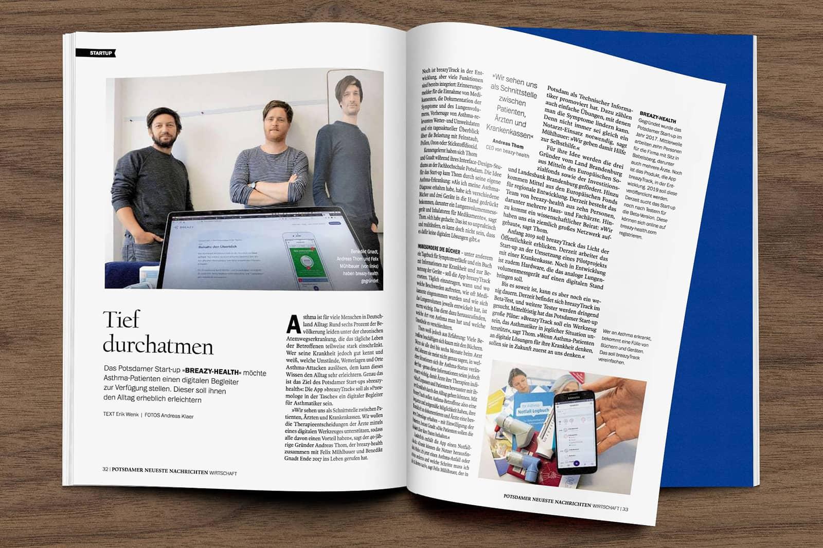 breazy-health im Magazin Wirtschaft der Potsdamer Neueste Nachrichten